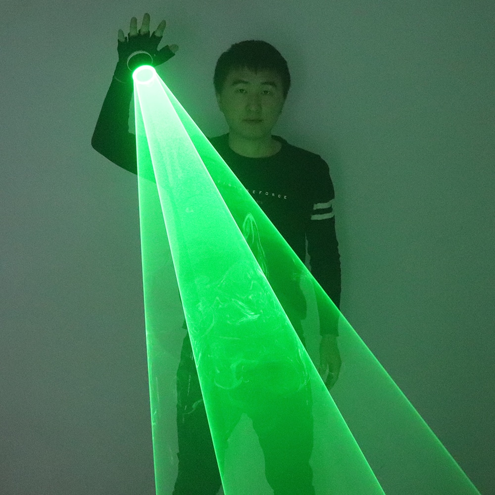 New Green Rotating Laser Gloves Whirlwind Handheld Cannon DJ Dancing Club Tunnel Effect Vortex Glove LED Light