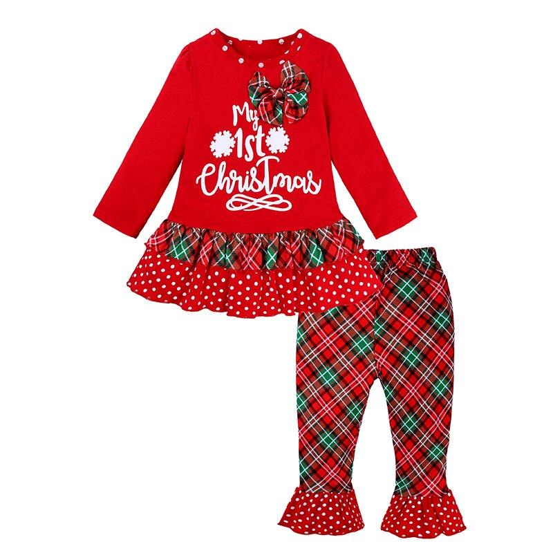 Disfraz de Reno de Navidad Hooyi para niñas pequeñas, conjunto de ropa de manga larga, blusas de Navidad para niñas, camisa roja a rayas, pantalones a cuadros