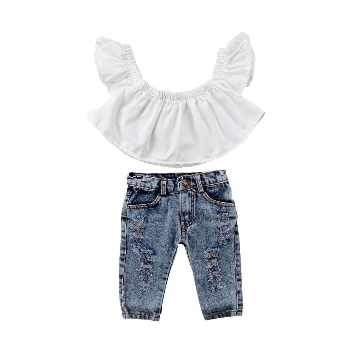 Fashion Kid Baby Set Clothes Toddler Girls Off Shoulder Tops+Denim Holes Pants 2Pcs Outfit Clothes 6M-4Y
