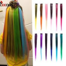 Leeons Clip-In Einem Stück Für Ombre Haar Extensions Reine Farbe Gerade Lange Synthetische Haar Gefälschte Haar Stück Clip in 2 Ton Haar