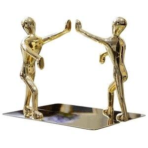 Golden Boy Bookends Book Stand Holder Bookshelf Desktop Organizer Shelf Office Accessories Stationery
