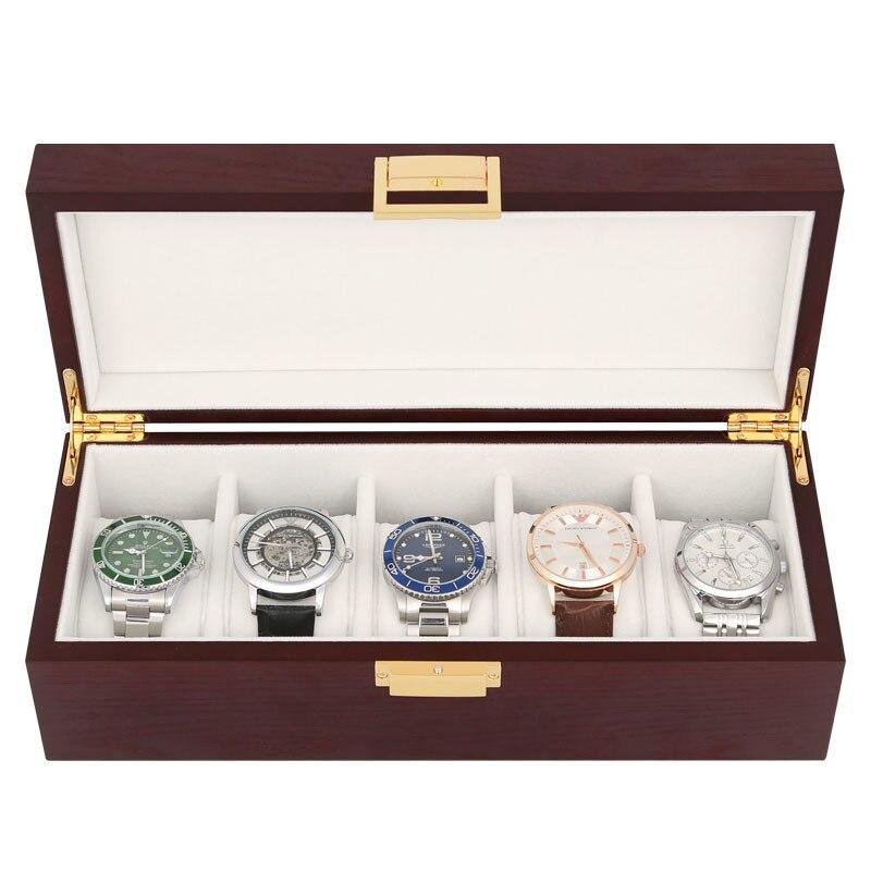 النمط الصيني خشب متين ساعة مجوهرات صندوق صندوق تخزين ريترو عالية الجودة بسيط ساعة يد محمولة