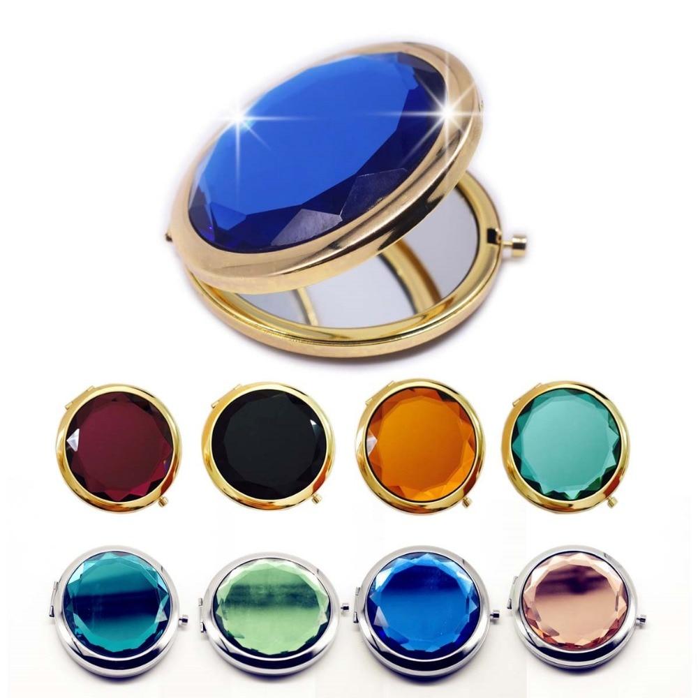 Зеркало для макияжа украшенное кристаллами, компактное, круглое, компактное, золотое, серебряное, карманное, для индивидуального подарка, 1 шт.