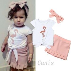 Dropshipping 2Pcs Toddler Kids Baby Girls Flamingo Knotted T-Shirt Dress Skirt 3PCS Outfit Sunsuit