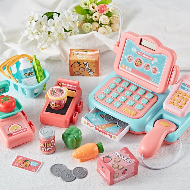 2021 toys Electronic Mini Simulated Supermarket Cash Register Kits Toys Kids Checkout Counter Role Pretend Play Cashier Girl Toy connect the pos machine before the use of cash used in supermarket restaurant cashier ek330