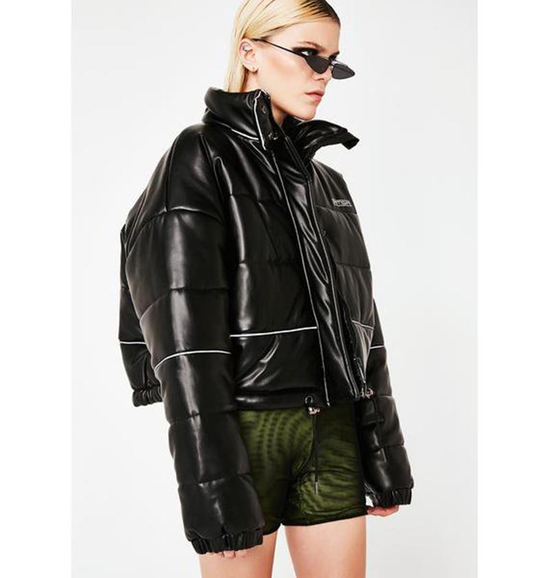 2019 Winter Jacket Women Reflective Cotton Padded Women Coat Warm Streetwear Loose Women's Parka Black White Harajuku Parkas