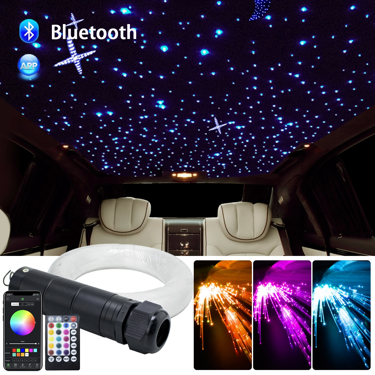 DC12V 6W RGB  Car Roof Star Lights LED Fiber Optic star ceiling Light kits  2M 0.75mm 100~380pcs Optical fiber with RF control