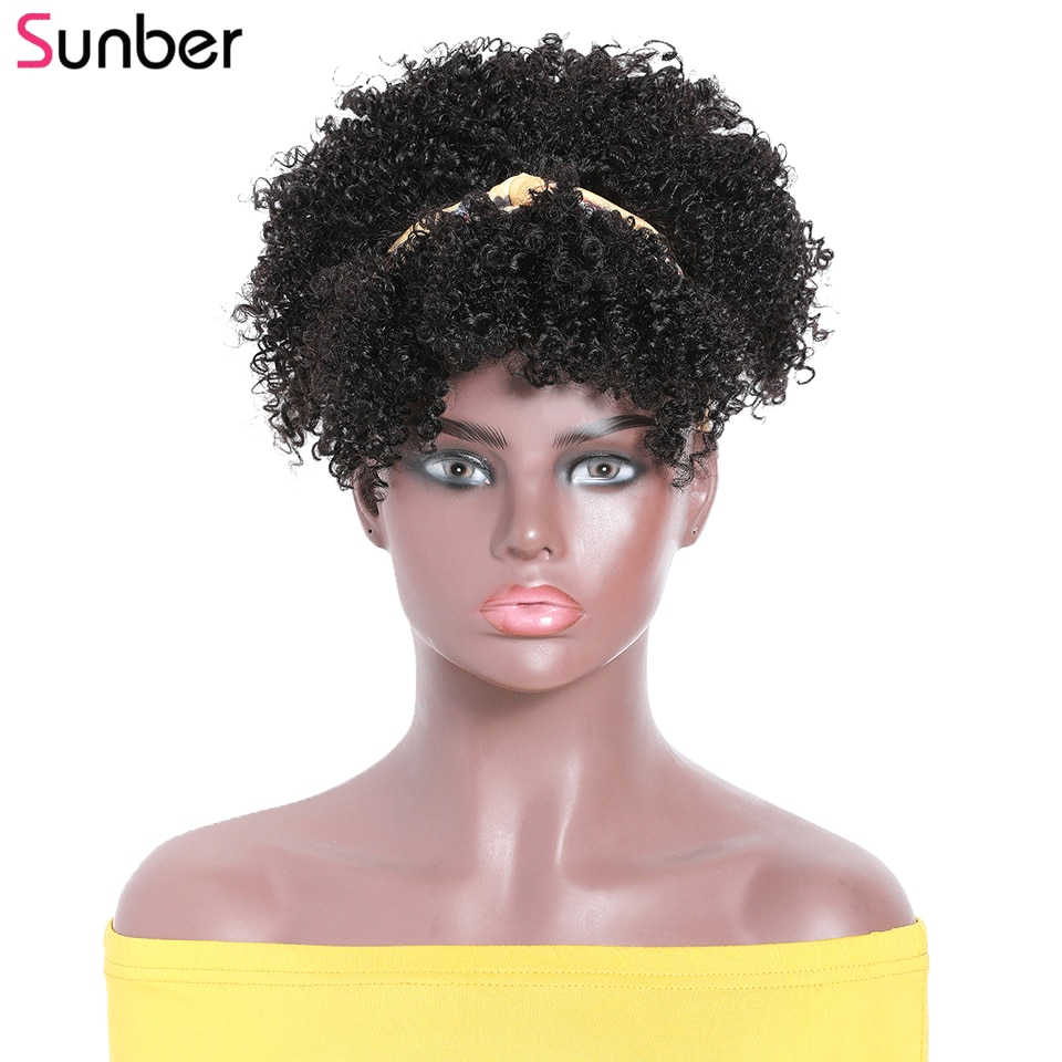 Sunber Afro Kinky Curly Puff Head-Wrap Wigs with Removable Bangs Best Human Hair Glueless Peruvian Curly Headband Wigs