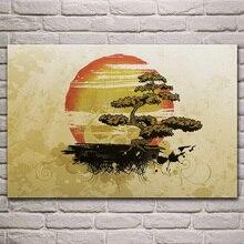 Grunge bonsaï art orange beige soleil nuage tissu affiche salon maison mur décoratif toile soie art imprimer KL033