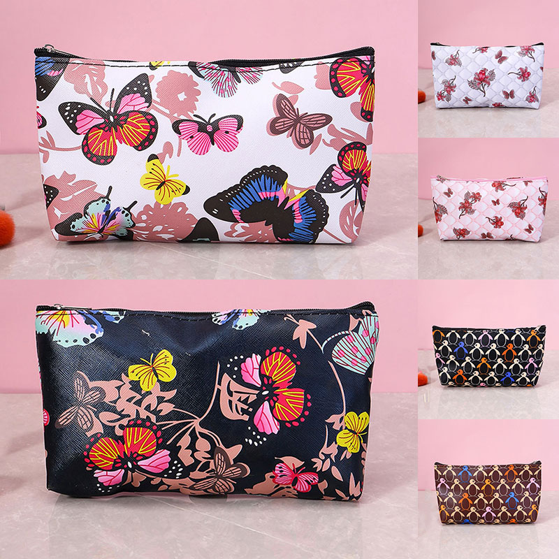 Симпатичные косметички с принтом, женские стильные удобные клатчи, модные популярные деликатные переносные дорожные сумки для туалетных п...