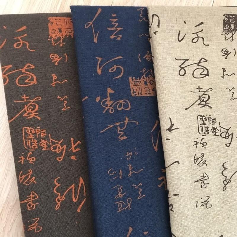 Tela de lino estampada con letras artísticas, tela de fondo para sofá y almohada, tela de lona hecha a mano, tela de algodón estampada DIY