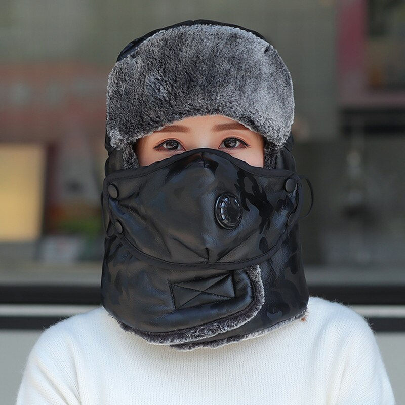 Army Military  Men&Women PU leather Winter Bomber Hat with mask warm Faux Fur Pilot Earflap Trapper