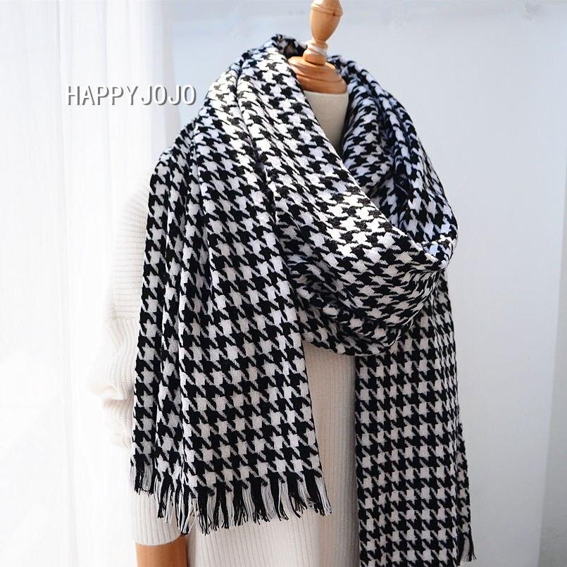 Xale de lã de alta qualidade clássico preto branco houndstooth longo cachecol cabo macio chique moda casual pashmina quente para mulher ou senhora