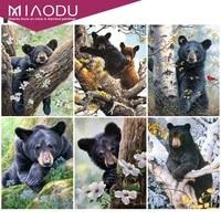 dbqp full square drill diamond painting animal bear cross stitch diamond mosaic tree home decoration handcraft