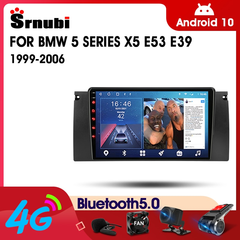 eunavi 2 din universal android 10 car multimedia player auto dvd radio stereo gps navigation audio tef7708 4g wifi dsp rds usb Android 10 2 Din IPS Car Radio For BMW X5 E39 E53 1999 - 2006 Multimedia Video Player GPS Navigation 4G DSP RDS DVD Split Screen