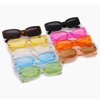 2020 new small square frame candy color transparent sunglasses female colorful ocean piece rectangle fashion eyeglasses