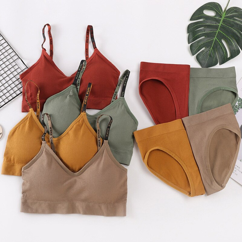 Women Sexy Bra Briefs Set Cotton Beauty Back Underwear Set Seamless Sports Bralette High Waist Panties Small Chest Lingerie