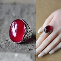 fashion retro red gem crown ring charm womens ring wedding party jewelry accessories cocktail ring adjustable anniversary gift