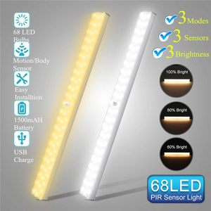 USB Rechargeable 40cm 68 LED Under Cabinet Night Light Motion Sensor Dimmable for Closet Wardrobe Cupboard Kitchen Toilet Lamp