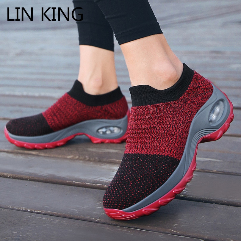 LIN KING Big Size Fashion Shoes Women Sports Shoes New Design Woman Sneakers Slip On Wedges Platform Sneakers Ladies Swing Shoes lin king comfortable women casual shoes fashion breathable running walking swing shoes slip on ladies sneakers tenis feminino