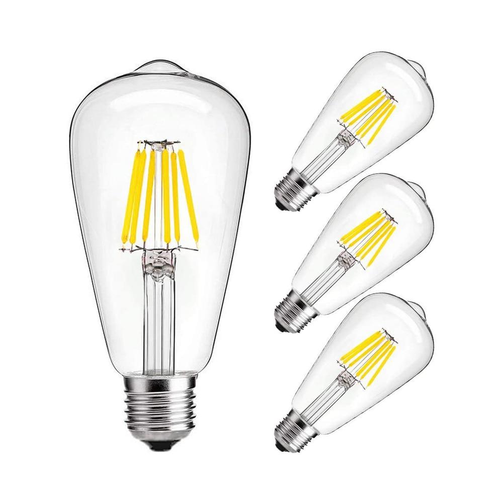 Светодиодная лампа Эдисона ST64, 4 шт./лот, 2 Вт/4 Вт/6 Вт/8 Вт, теплый/холодный белый свет, Ретро лампа накаливания Эдисона, прозрачная стеклянная ...