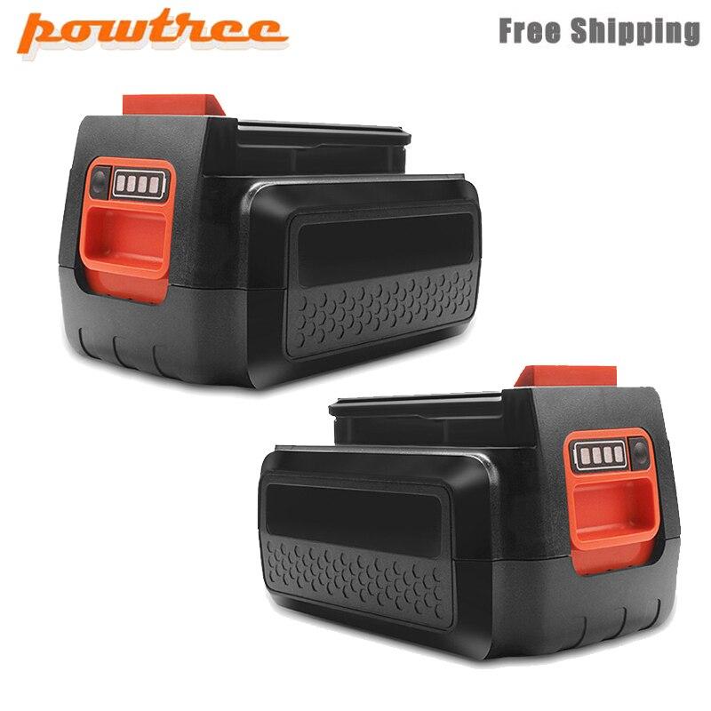 Powtree 2x para black & decker 40 v 3000 mah li-ion bateria recarregável lbxr36 bl2036 lbx2040 lst136, lst420, lst220