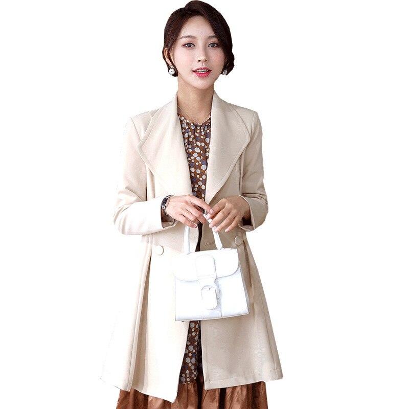 معطف نسائي مقاوم للرياح متوسط الطول YQ047, معطف نسائي ربيعي ضيق ، ملابس خارجية مناسبة للمكتب
