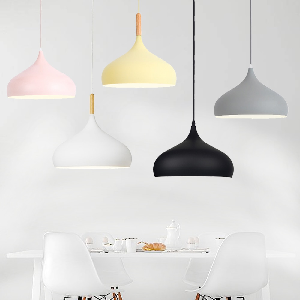 مصباح معلق LED بتصميم إسكندنافي مفرد ، إضاءة داخلية مزخرفة ، مثالي لغرفة المعيشة أو المطبخ أو المقهى ، لمبة E27