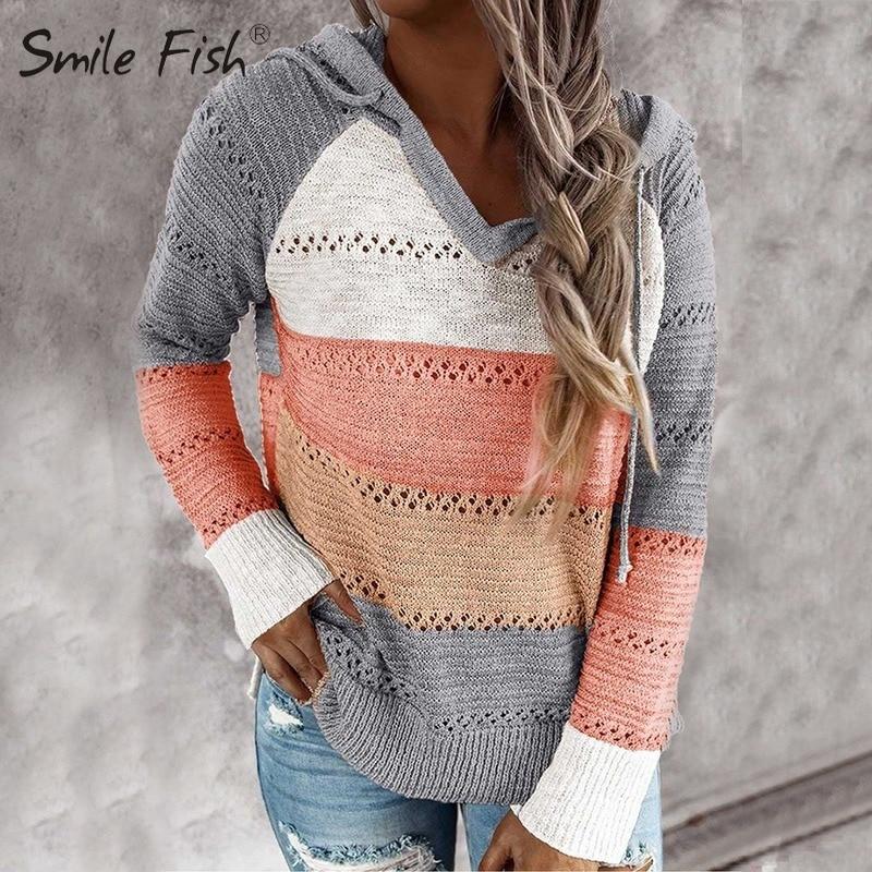 Arco Iris Chic agujeros prendas de punto Mujer Patchwork suéter ahuecado suéter fino Top Casual Femme otoño tejido G1840