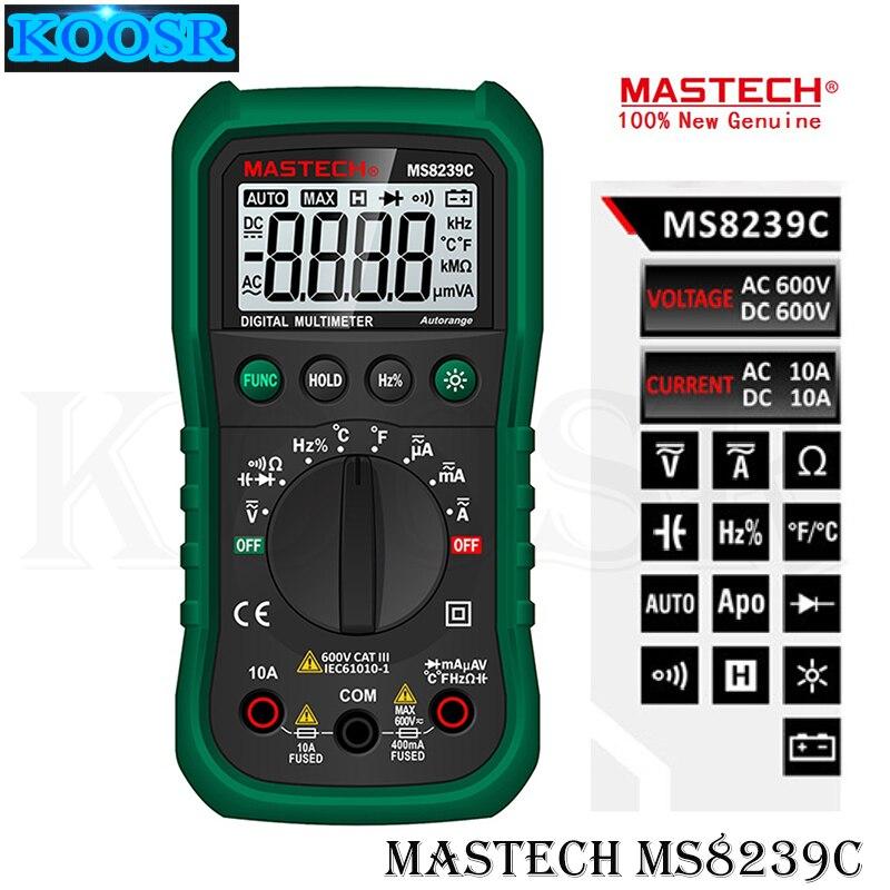 Multímetro Digital de mano Mastech MS8239C, multímetro Digital de corriente alterna y CC, probador de temperatura de frecuencia de resistencia de capacitancia