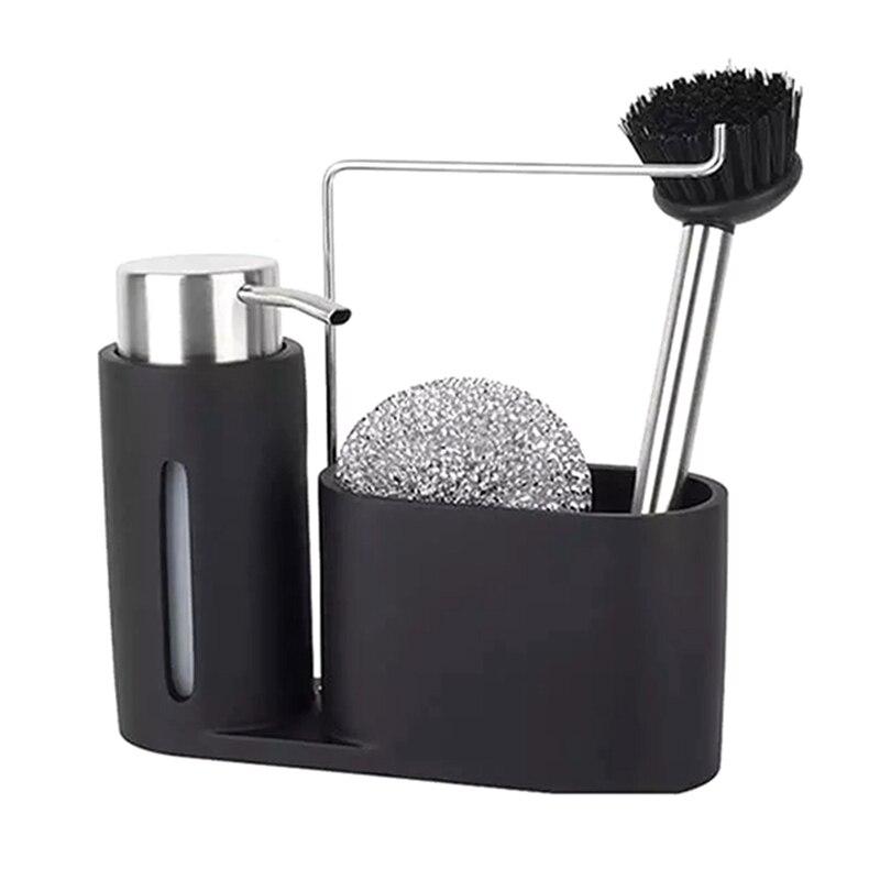 بالوعة العلبة تنظيف عدة المطبخ العلبة مع موزع الصابون الكرة الصلب وفرشاة الأسود مجموعة نظيفة لتنظيم المطبخ