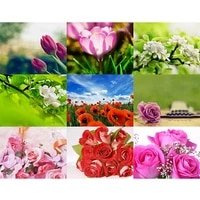 diy spring flower rose full square drill diamond painting colorful handmade cross stitch embroidery mosaic home room wall decor