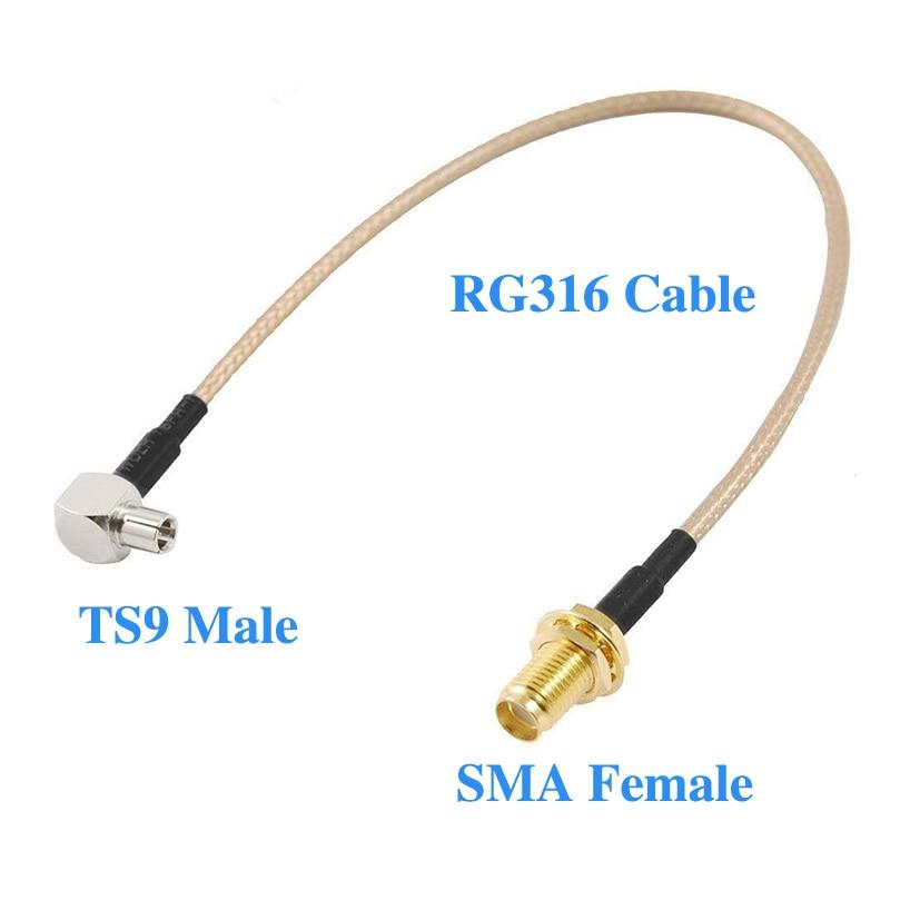 10 قطعة RG316 50 سنتيمتر SMA أنثى جاك إلى TS9 ذكر التوصيل الزاوية اليمنى موصل ضفيرة تمديد كابل