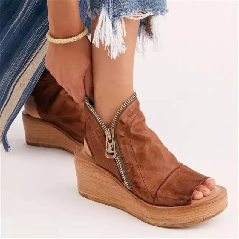 2021 New Women's Shoes Fashion Trend Daily Solid Color PU Retro Zipper Open Toe Wedges Platform Comfortable Sandals 6KF141