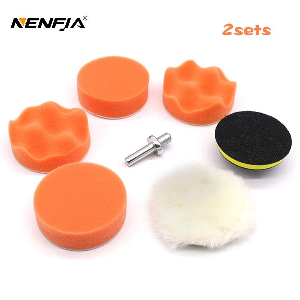 """2 juegos 7 Uds 3 """"Set de esponjas con almohadilla pulidora pulido adaptador de cera Kit de taladro para el cuidado de pintura de coche pulidor conjunto de pulido"""