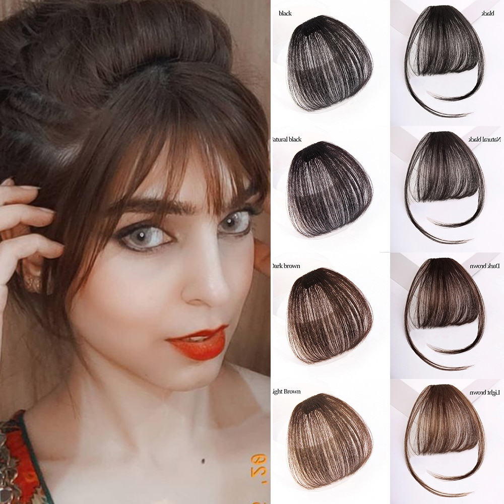 MyDiva Short Synthetic Bangs Heat Resistant Hairpieces Hair Women Natural Short Fake Hair Air Bangs Hair Clips For Extensions