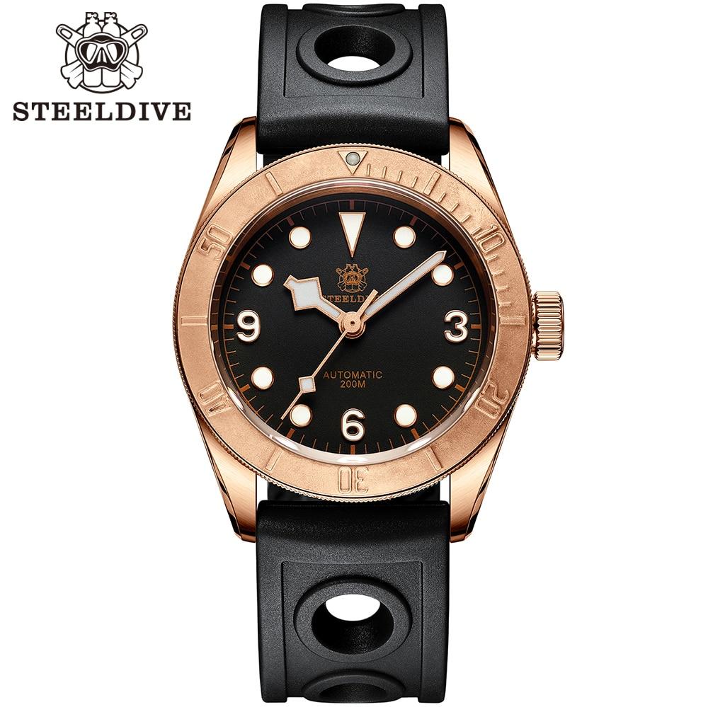 Relógios de Mergulho Relógio de Cristal Steeldive Bronze Masculino Relógio Automático Duplo Cúpula Safira Nh35 20atm 1958s