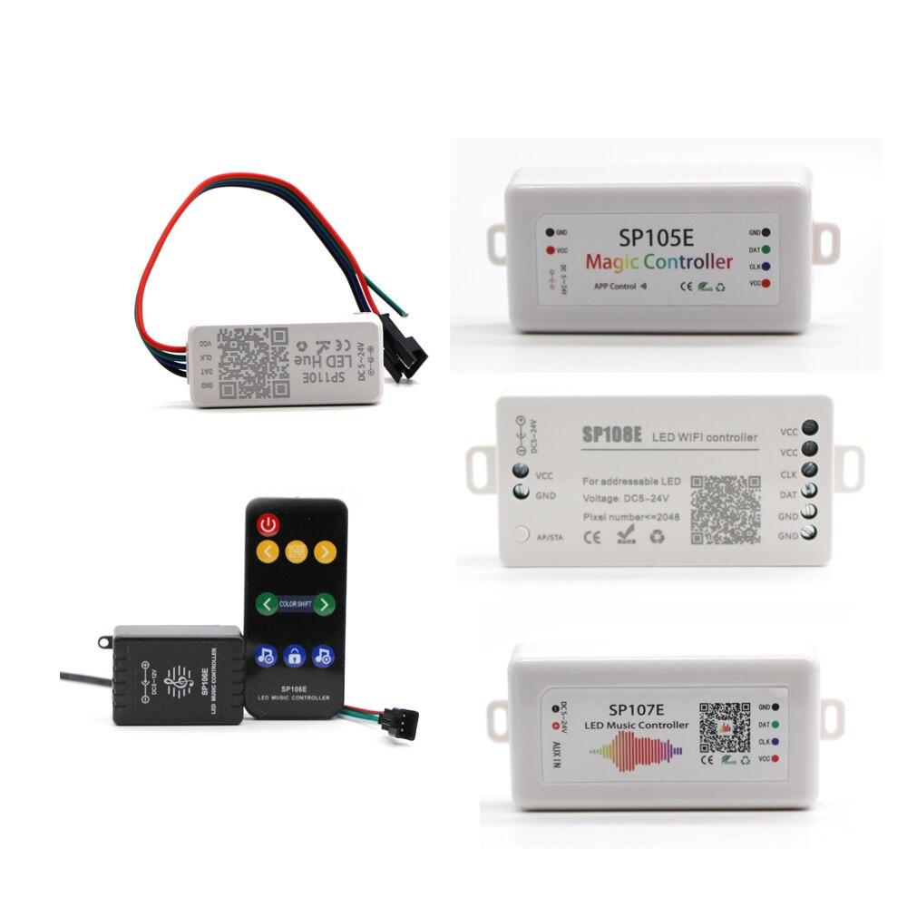 Sp105e sp106e sp107e sp108e bluetooth wifi música controle remoto para ws2801 ws2811 ws2812b sk6812 luzes mágicas led pixel strip