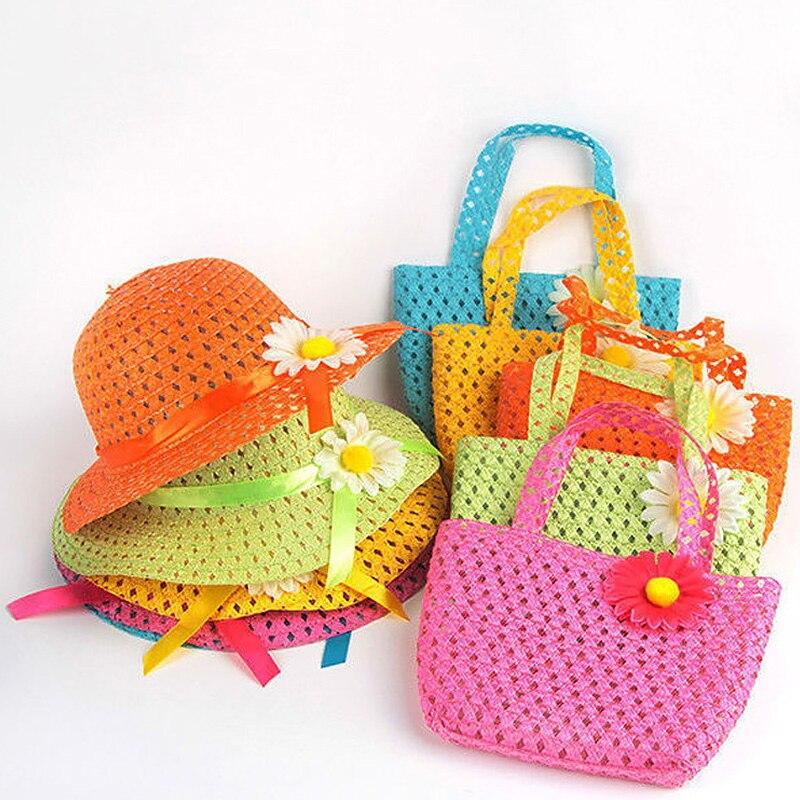 Lovely Multi Color Summer Sun Hat Girls Kids Straw Hat Cap Beach Hats Bag Flower Tote Handbag Bags Suit
