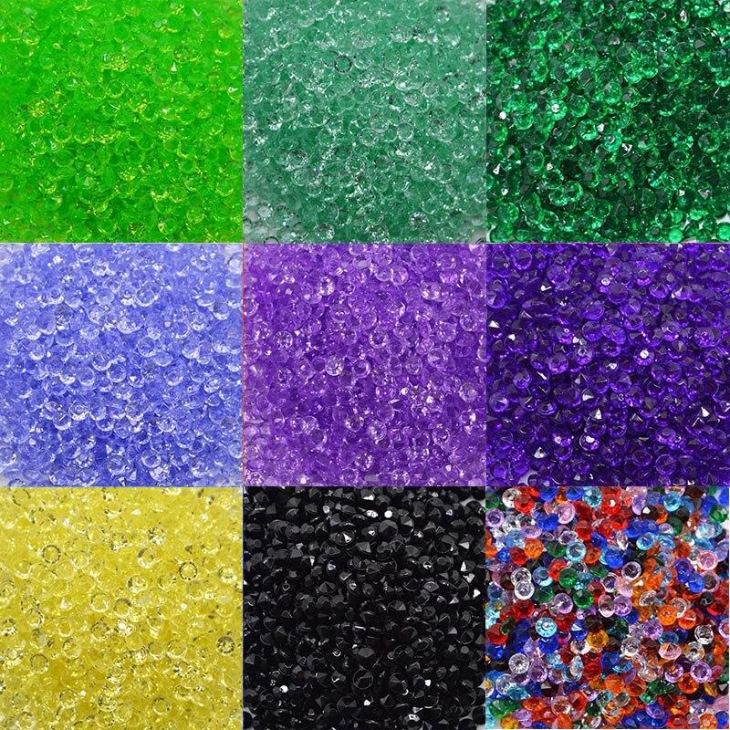 Купить с кэшбэком 1000pcs/Bag Acrylic Artifical Diamond Confetti Craft Wedding Home Party Decorations Acrylic Crystals Filler Beads Table Scatter