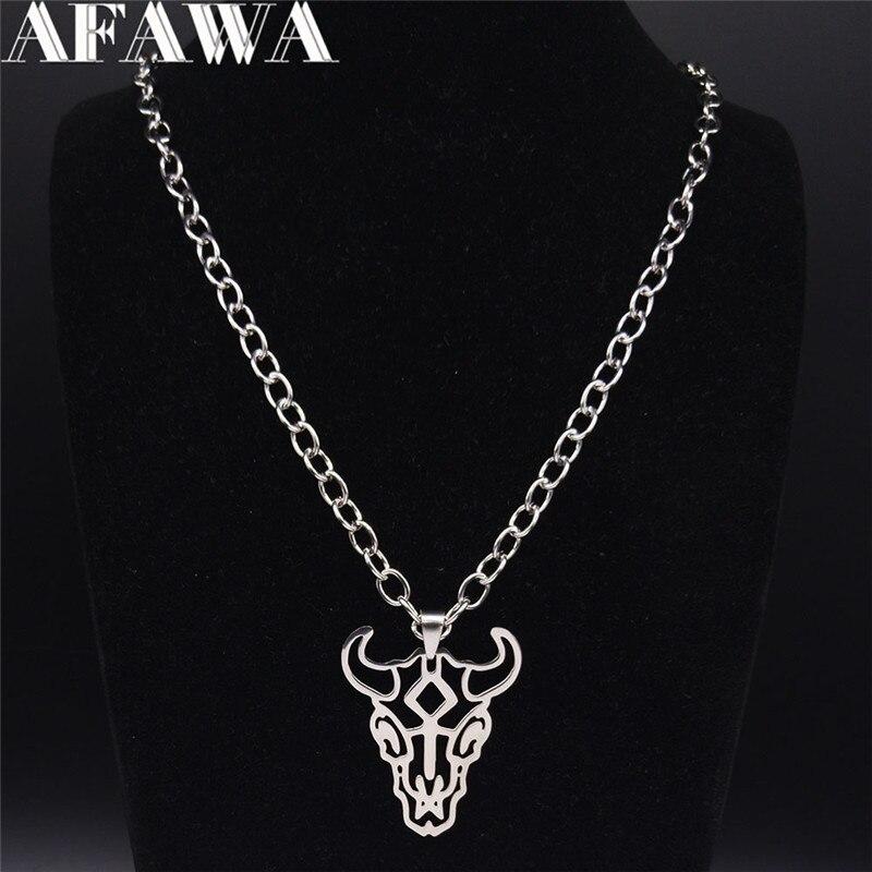 2020 moda punk bull head aço inoxidável colar longo para homem/mulher cor prata colar jóias colares largos n4104s02