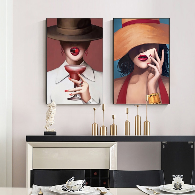 Fashion Women with Hat Canvas Wall Art Contemporary Modern Dress Wall Decor Red Lip Canvas Prints Stylish Feminine Wall Picture