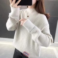 2021 autumn and winter new plus fat plus size womens lazy wind hedging pure color base loose thick knit korean style blouse