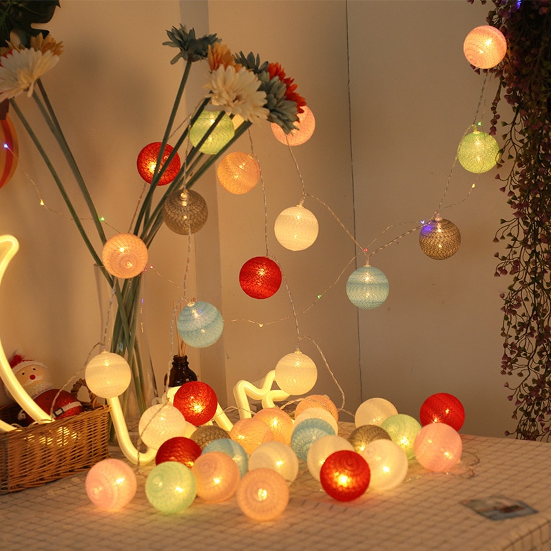 LED Cotton Ball String Lights Battery Operated Colorful Garland Fairy Lights for Home Wedding Christmas Party Outdoor Decors 3m globe led garland starry crystal wishing ball string lights decors for curtains bedroom living room balcony christmas wedding