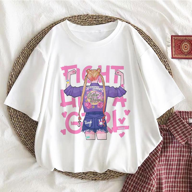 Ulzzang Kawaii Casual Letter Sailor Moon Print Women T-shirt Summer Harajuku Short-sleeved Fashion Streetwear Loose Tops T Shirt