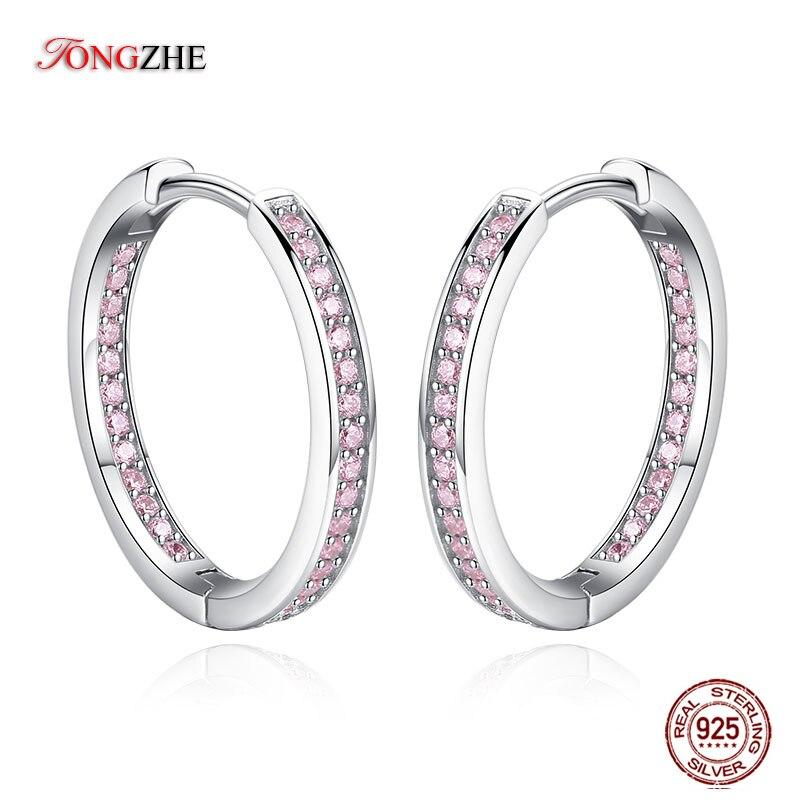 Pendientes TONGZHE de aro pulidos de gran calidad para mujer, Plata de Ley 925, pavé Rosa AAA austriaco CZ para joyería para fiesta y boda