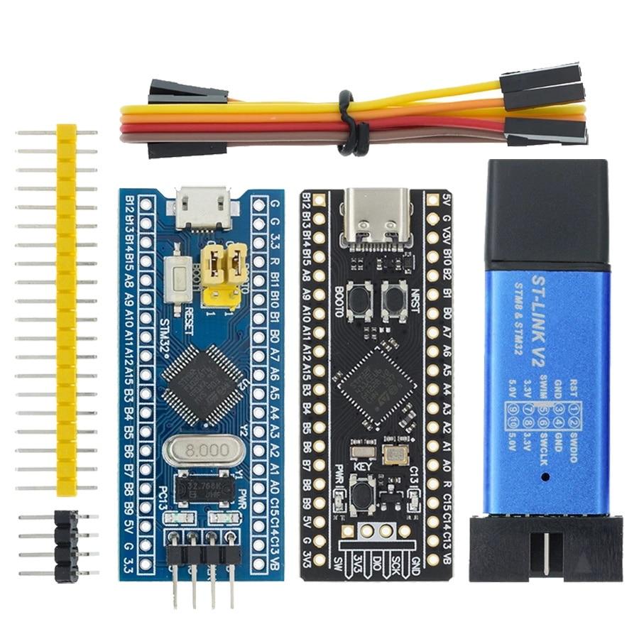 ST-LINK V2 محاكي تحميل مبرمج STM32F103C8T6 Arm STM32 الحد الأدنى تطوير نظام مجلس STM32F401 STM32F411 STM32F4