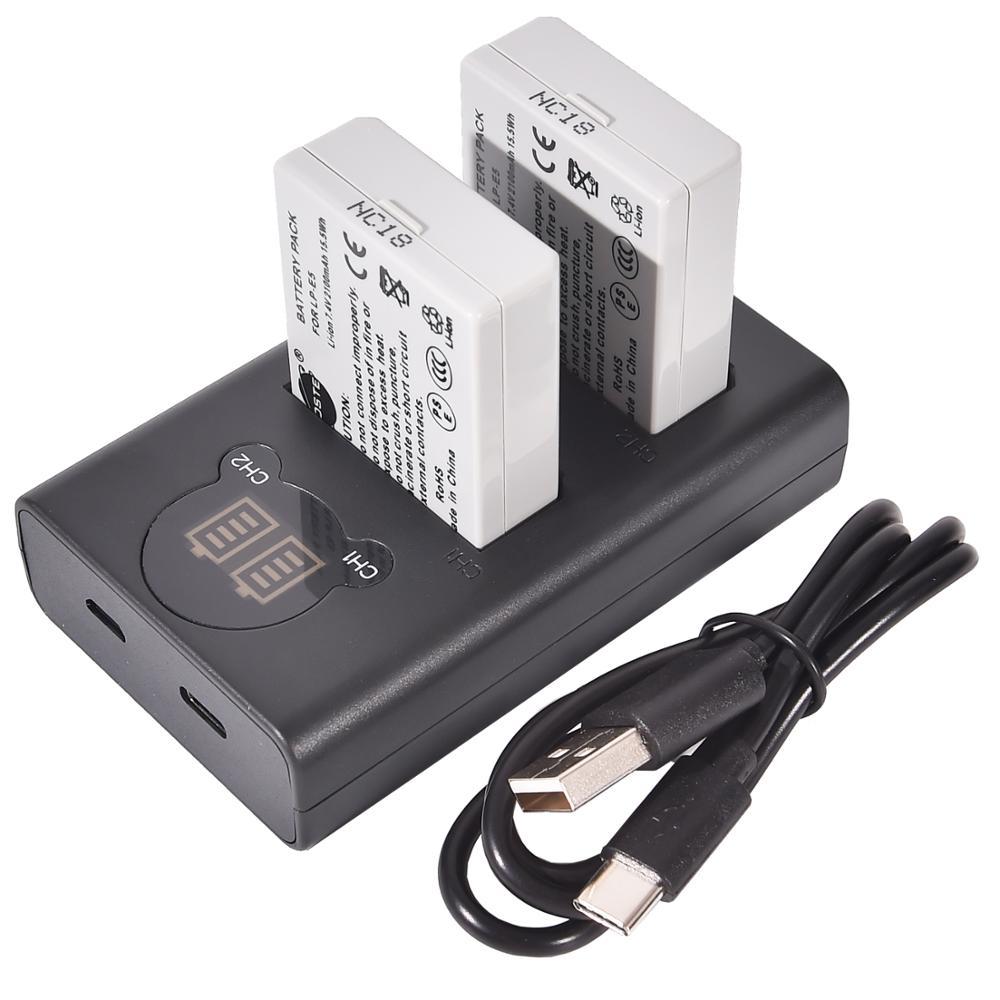 DSTE 2x LP-E5 con Dual LCD Kit de cargador de batería para Canon EOS Rebel Xli T1i XS XSi Kiss Digital X3 F X2 1000D 450D 500D
