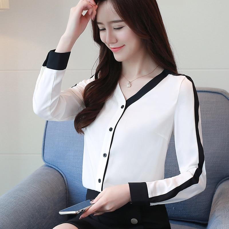 ¡Novedad de 2020! Blusa de gasa de manga larga de color de costura para mujer, parte inferior para Blusa con oficina de Primavera, blusas con cuello en V coreanas, 623A60