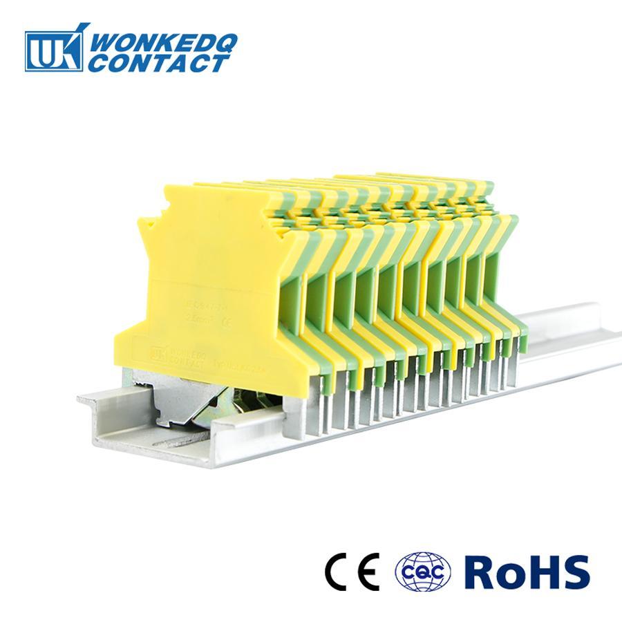 10Pcs USLKG-2.5N Din Rail Screw Ground Modular Terminal Block Protective Earth Wire Connector Connductor USLKG2.5N USLKG2.5